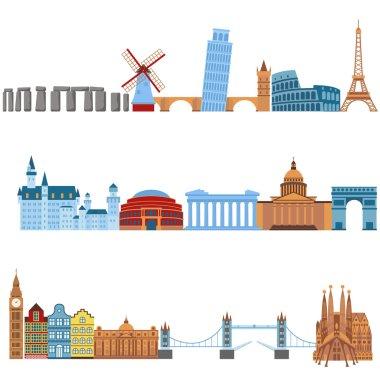 Eurotrip tourism buildings, travel famous worlds monuments design and Euro trip adventure architecture