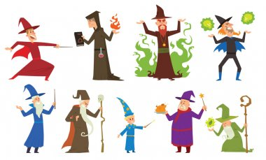 Group of magicians and wizards illusion show old man imagination, performance character vector.