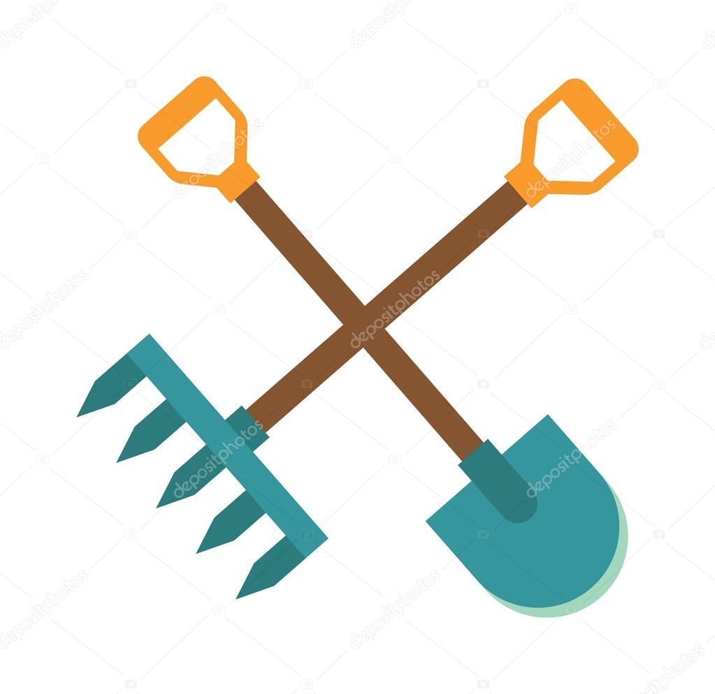 Gardening tools icon flat graphic design farm organic for Gardening tools vector