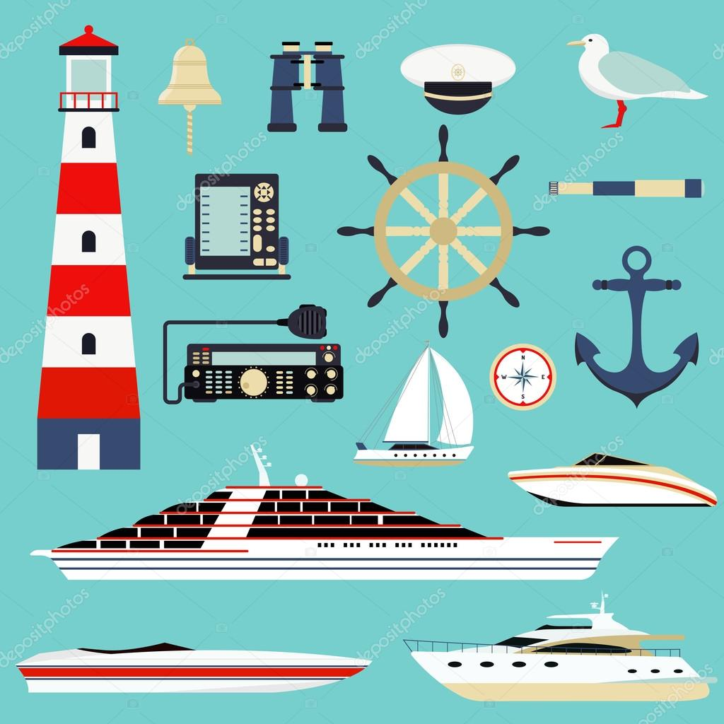 Nautical and marine icons, design element sea symbols vector.