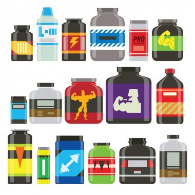 Sports food nutrition icons in flat style and long shadow. Detailed flat style