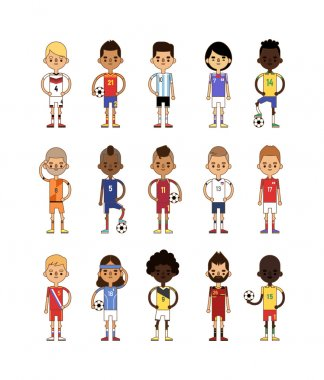 Football team sport soccer players group vector illustration.