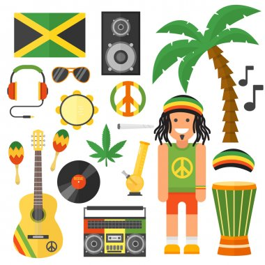 Reggae artist musical instrument and rastafarian elements collection vector illustration.