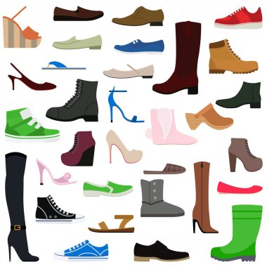 Women shoes isolated collection of various types female footwear vector illustration.