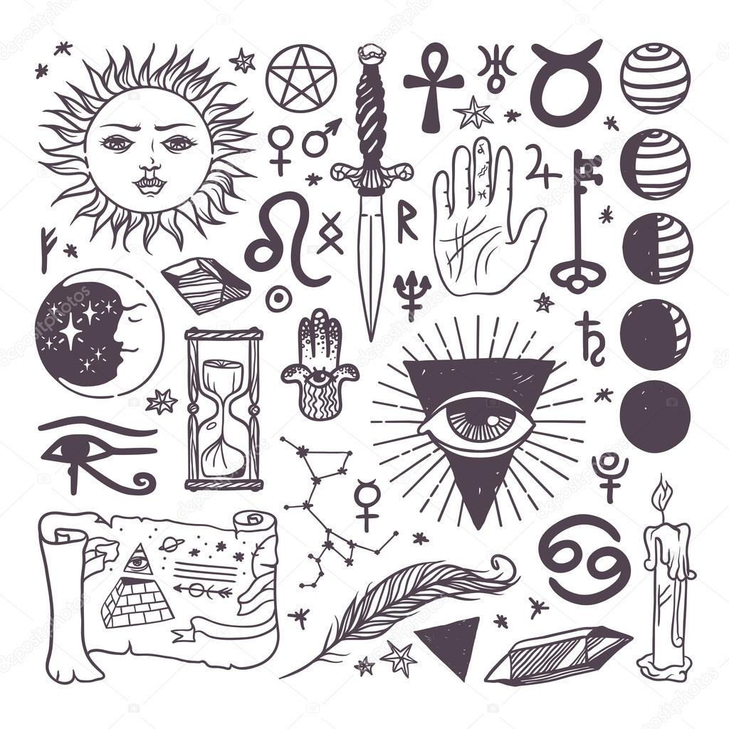 Set of trendy vector esoteric symbols collection sketch hand drawn set of trendy vector esoteric symbols collection sketch hand drawn religion philosophy spirituality occultism chemistry science magic esoteric buycottarizona