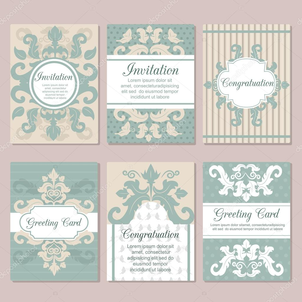Set of wedding invitation card design flyer pages ornament vector vintage art traditional invitation card design indian ottoman motifs elements retro greeting invitation card design vetor por adekvat stopboris Choice Image