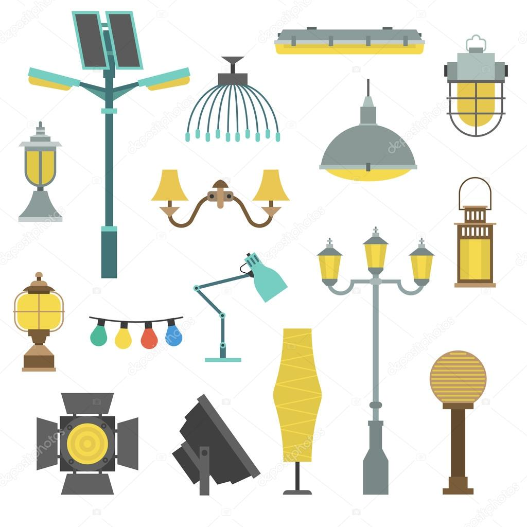 Lamps Styles Design Electricity Classic Light Furniture, Different Types  Electric Equipment Vector Illustration. U2014
