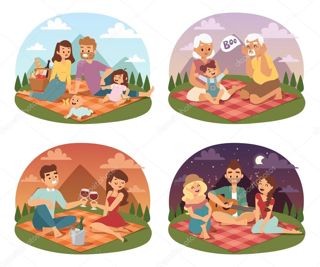 Family picnicking summer happy lifestyle park outdoors together, enjoying meadow vacation character vector.