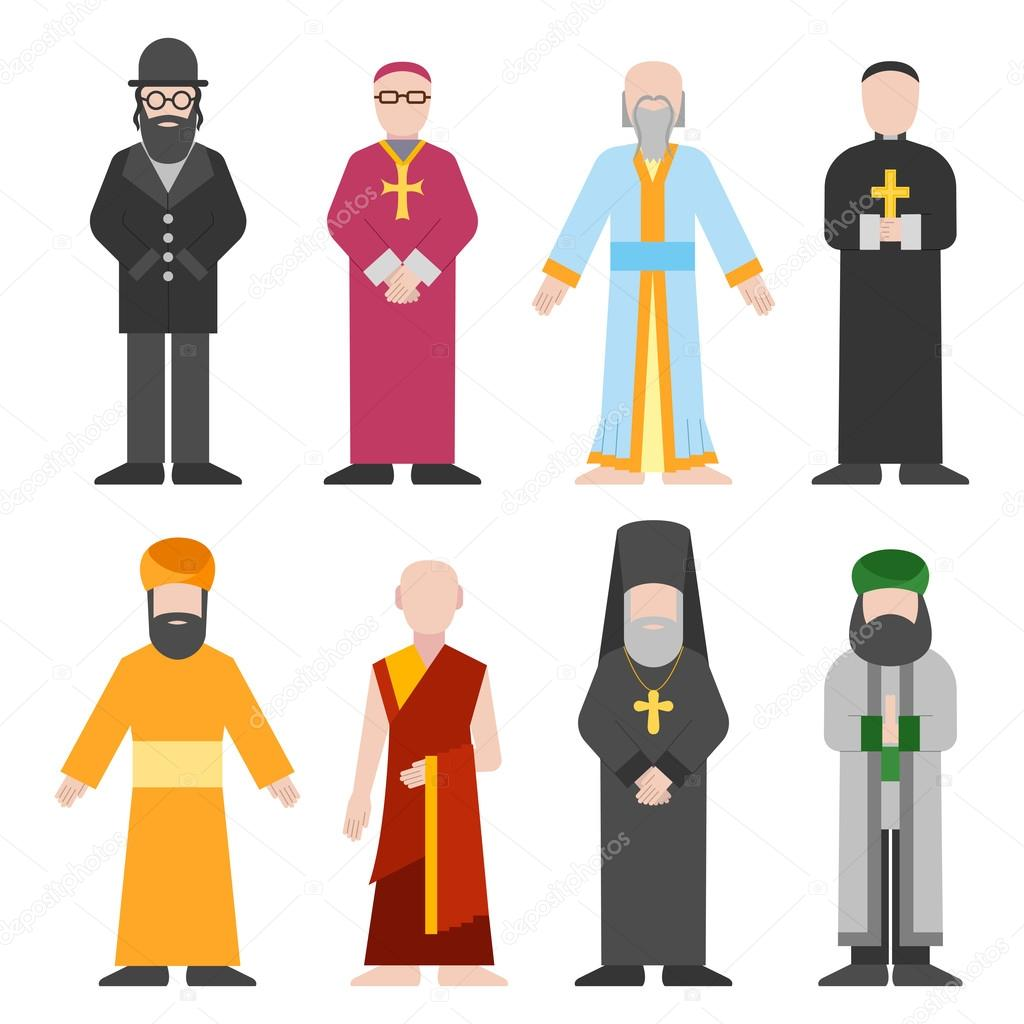 Vector set of different religion people confession man. People of different religion in traditional clothing in trendy flat style. Religion people islam and catholic religion people character icons. stock vector
