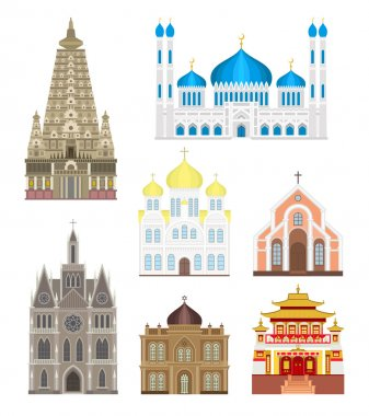 Cathedrals and churches infographic temple buildings set architecture asia landmark tourism vector