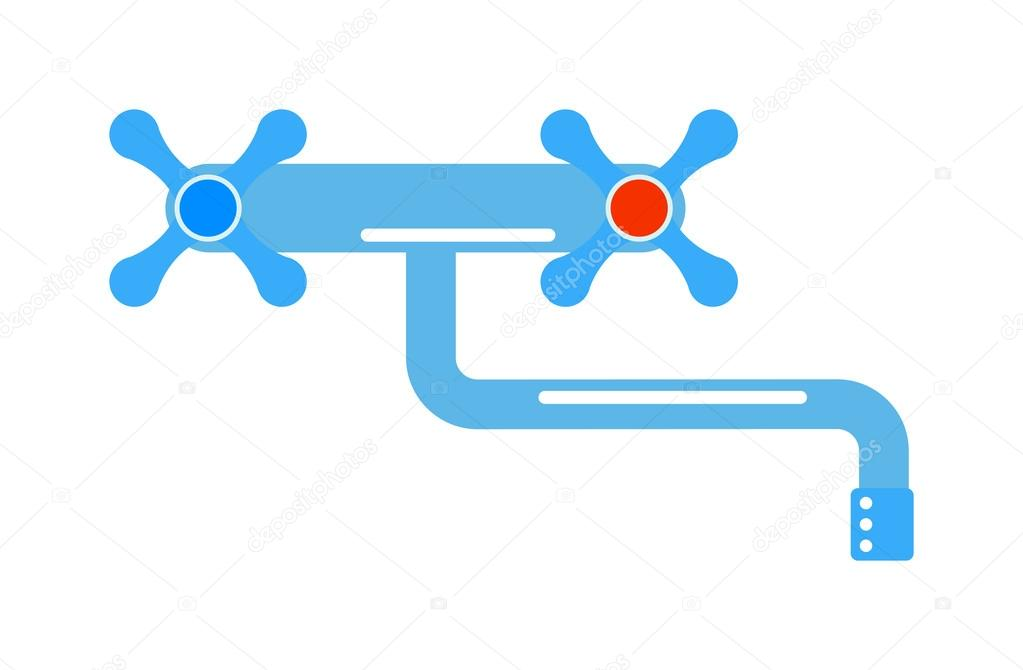 Dripping tap drop water faucet vector illustration. — Stock Vector ...