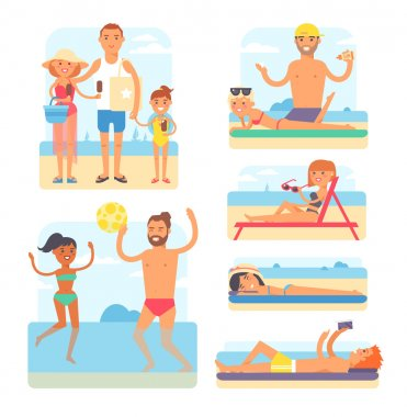 Beach people vector illustration.