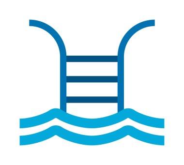 Swimming pool sign vector illustration.
