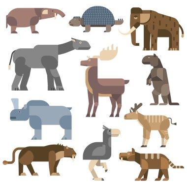 Ice age animals vector illustration.
