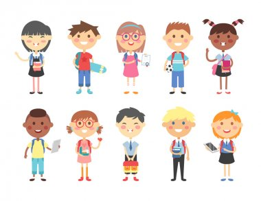 School kids vector illustration.