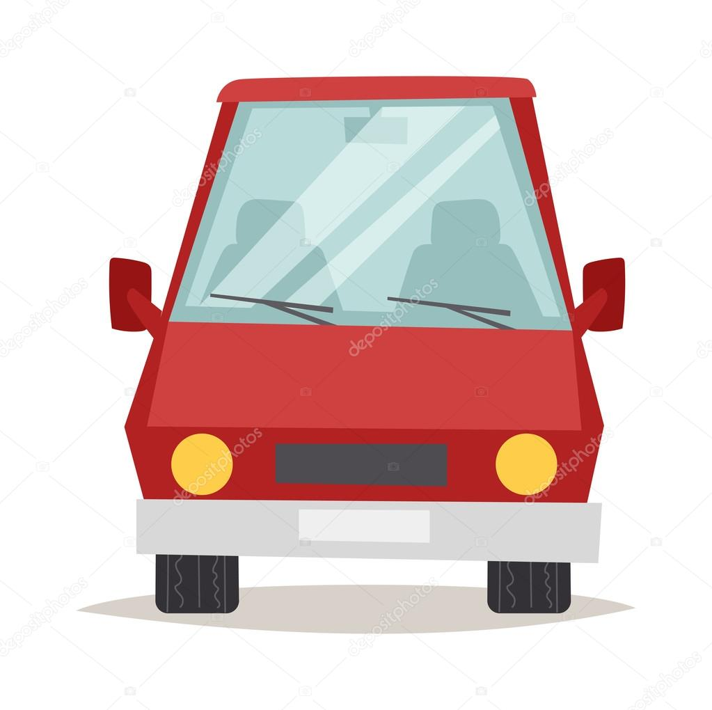 red cartoon car front view design flat vector illustration stock