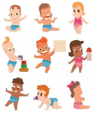 Baby kids vector illustration.