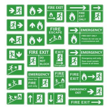Exit sign vector set.
