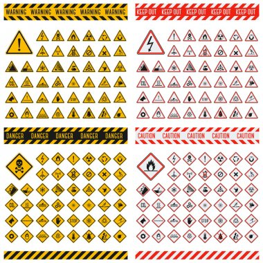 Danger sign vector collection.