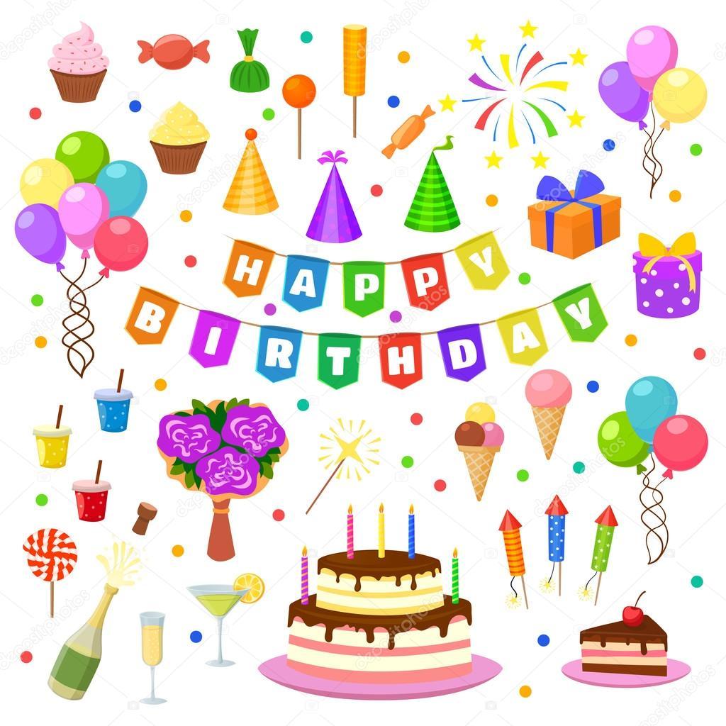 Birthday cake symbol text image inspiration of cake and birthday download happy birthday party symbols vector stock illustration buycottarizona