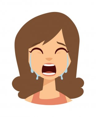 Woman crying vector illustration.