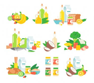 Set of traditional food icons and food vector. Food vector design restaurant lunch and food vector tasty snack eat fish flat element. Food vector cheese junk fast food, traditional food vector dishes. stock vector