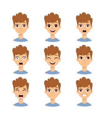 Boy face vector illustration.