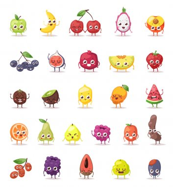 Fruit characters vector illustration.