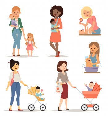 Young mother vector illustration.