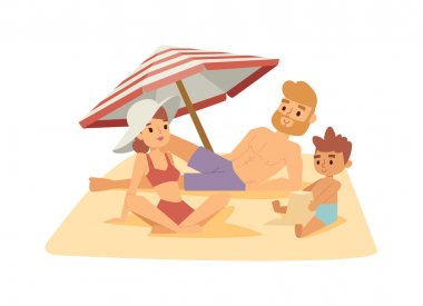 Family on beach vector illustration.