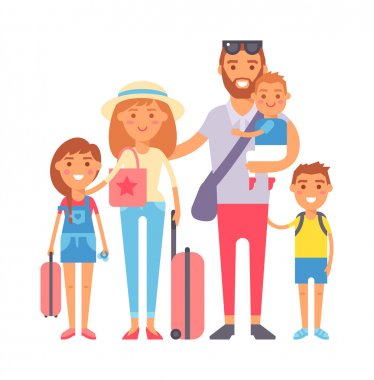 Vacation family vector illustration.