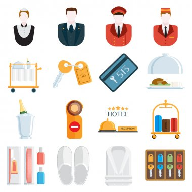 Hotel icons vector illustration.