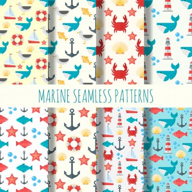 Marine seamless pattern vector set.