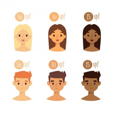 Vector faces with skin tone spf.