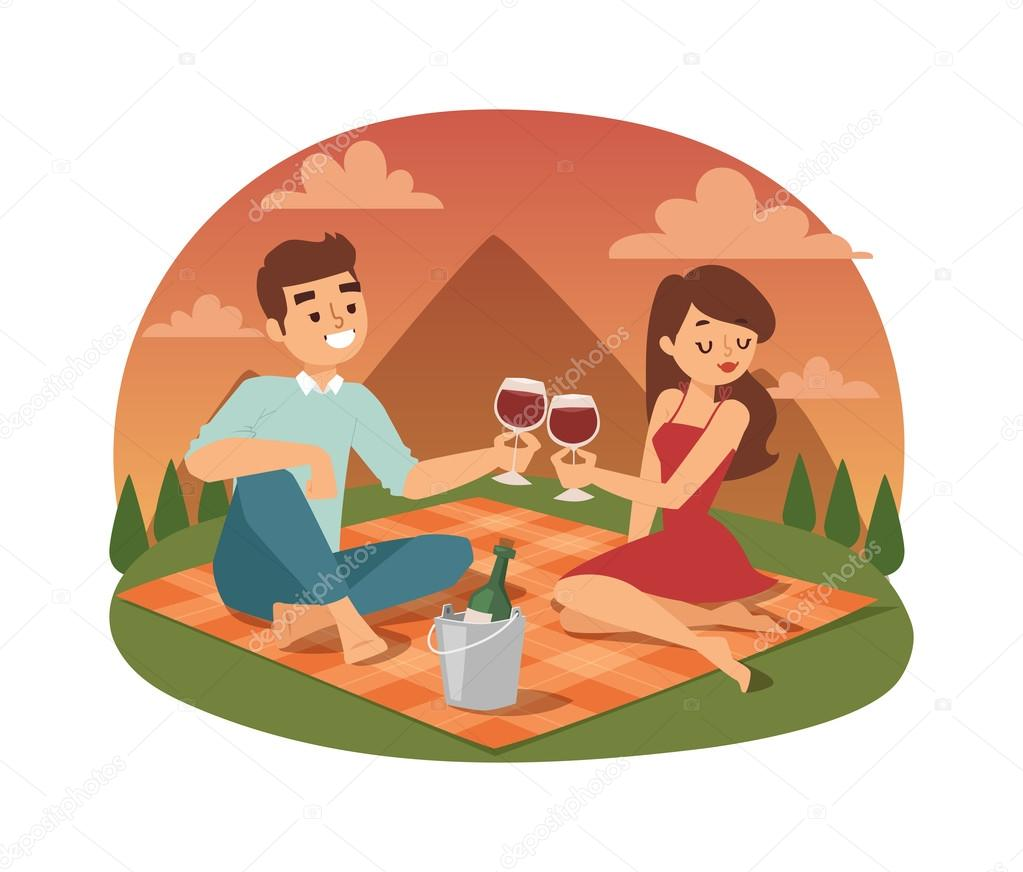 Young couple picnicking summer vector