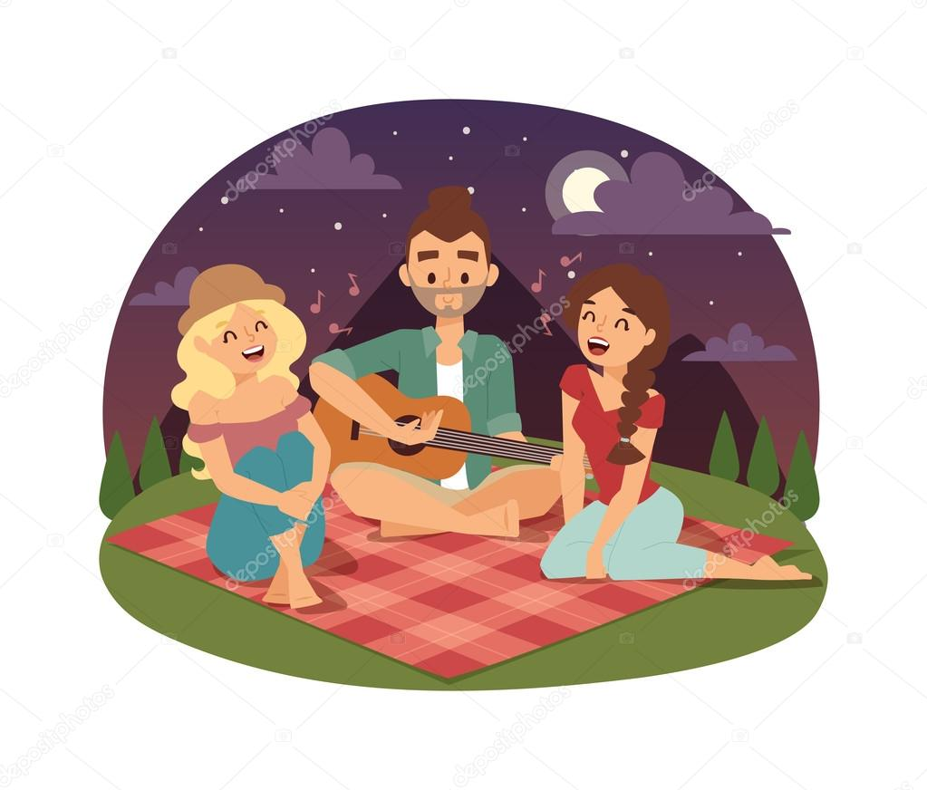 Friends picnicking summer vector