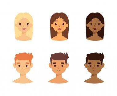 Skine tone faces vector set.