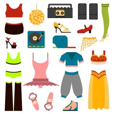 Vector design dance clothes.