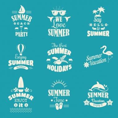 Summer emblem vector set.