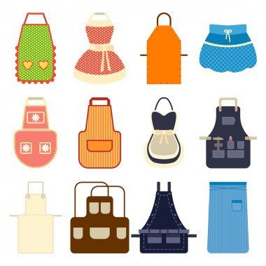 Kitchen apron set vector illustration.