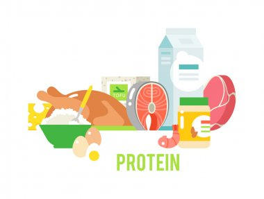 Proteins food vector illustration.