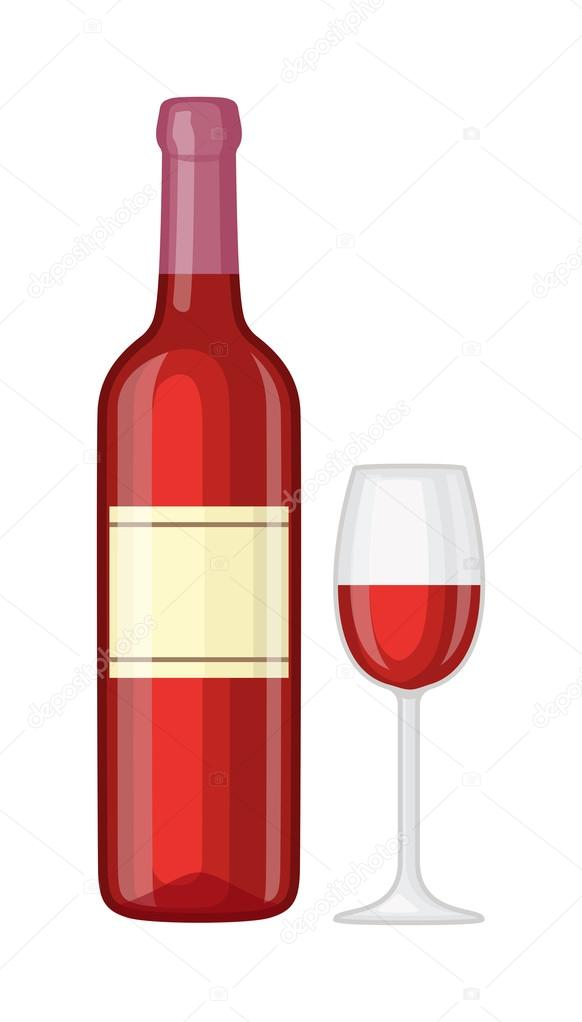 Glass And Bottle Of Wine Vector Illustration Stockvector