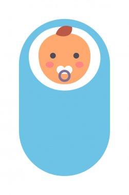 Baby kid in diaper vector illustration.