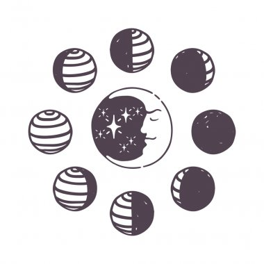 Moon phases vector set.
