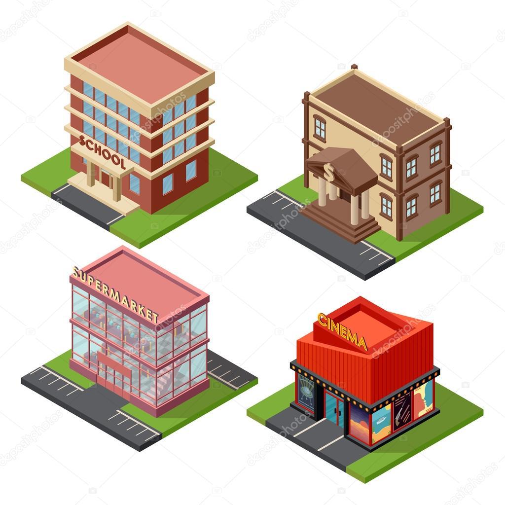 Building Design Software Freeware: Conjunto De Edificios Isométrica