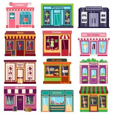 Shop facade vector illustration.