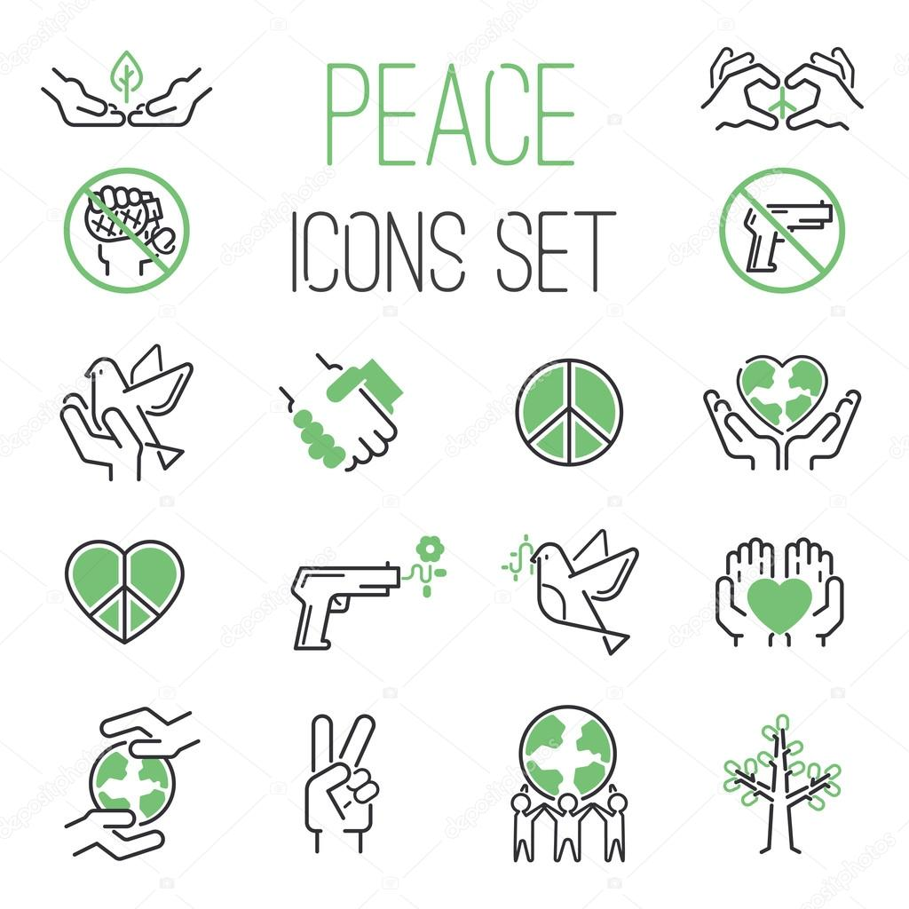 Peace icons vector set.