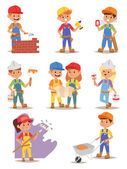 Fotografia Builders kids vector set.