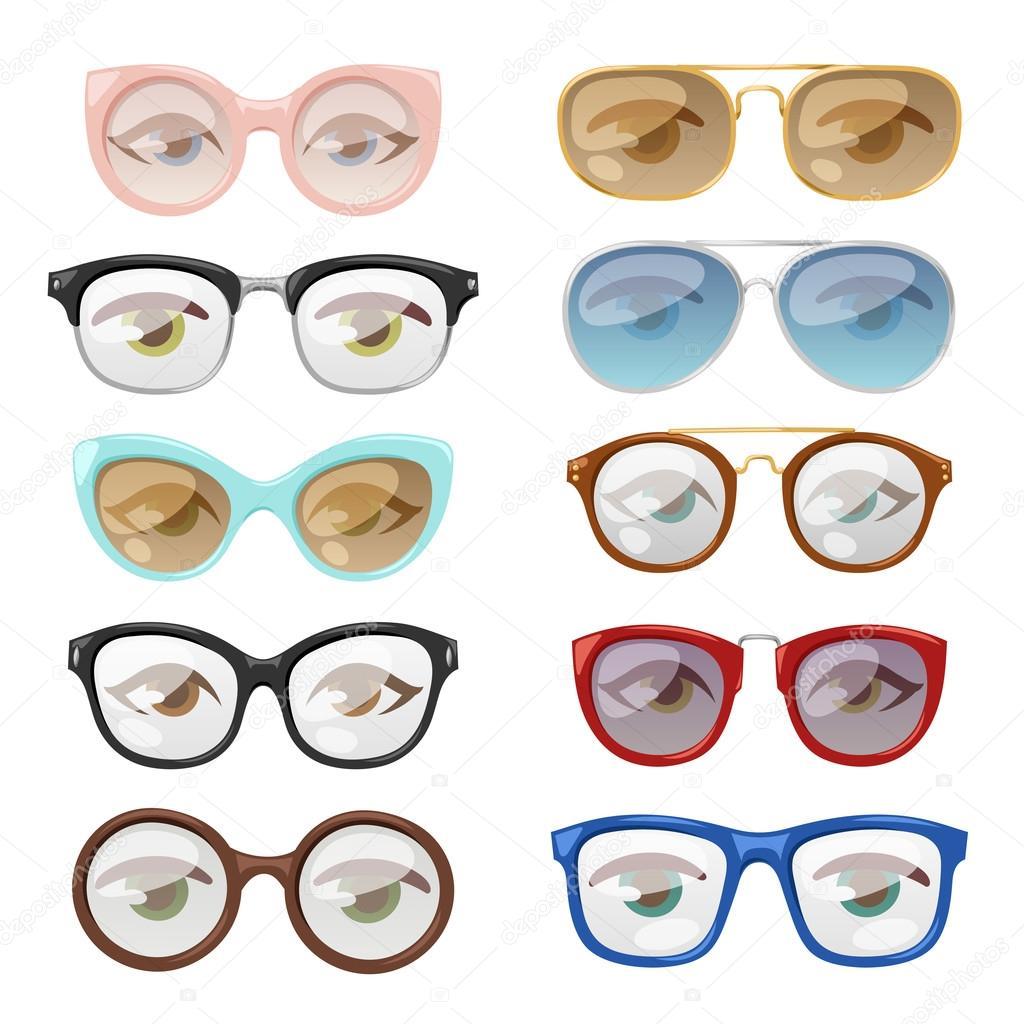 Glasses human eye vector set. — Stock Vector © adekvat #118835878