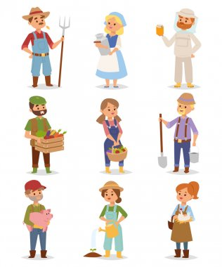 Farmers people vector set.